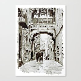 Carrer del Bisbe - Barcelona Black and White Canvas Print
