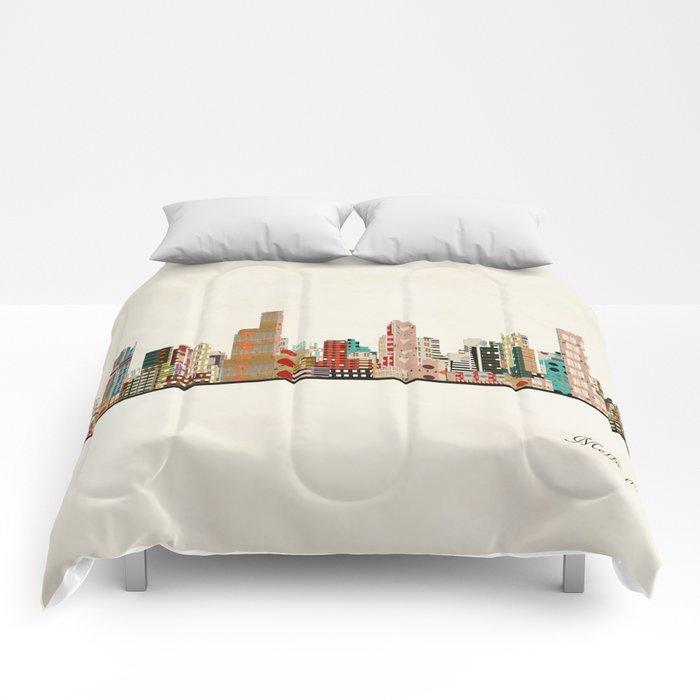 melbourne skyline Comforters