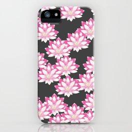 Lotus pattern on dark gray iPhone Case