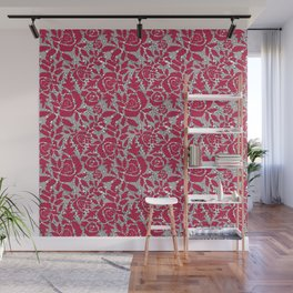 Red grey lace lace Wall Mural
