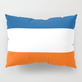 UNEVEN BRILLIANT BLUE DAZZLING WHITE COSMIC ORANGE STRIPED Pillow Sham