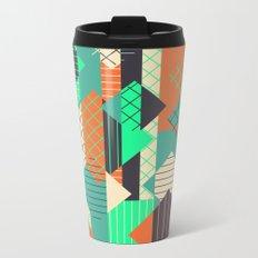 Squares Grids Stripes II (Modern Retro Color Palette) Metal Travel Mug