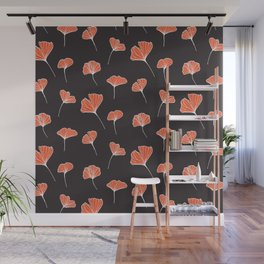 Ginkgo Biloba Leaves Pattern Dark #society6 #decor #buyart Wall Mural