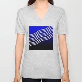 Blue black gradient curvilinear Unisex V-Neck