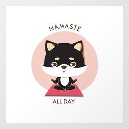 Yoga Shiba Inu Dog Art Print