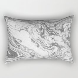 Akio - black and white grey minimal modern abstract marble painting retro minimalism urban bklyn Rectangular Pillow