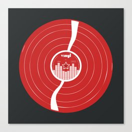 Retro Vinyl Record in Red and White Canvas Print