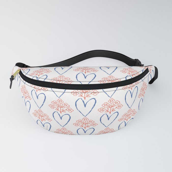 1950s Style Retro Love Heart Floral Seamless Pattern Fanny Pack