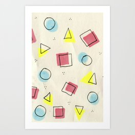 pastel shapes Art Print