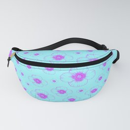 pretty pink summer flowers pattern print design on cyan blue background Fanny Pack