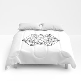 Geometric Crystal - Black and white geometric abstract design Comforters