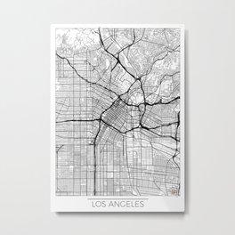 Los Angeles Map White Metal Print