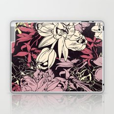 Spring flowers pattern. Narcissus, tulips and other, purple & orange. Laptop & iPad Skin