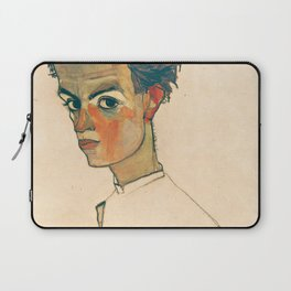 "Egon Schiele ""Self-Portrait with Striped Shirt"" Laptop Sleeve"