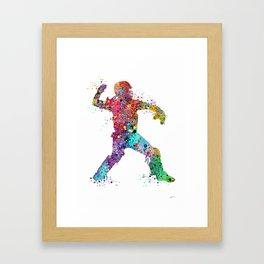 Baseball Softball Catcher 3 Art Sports Poster Framed Art Print