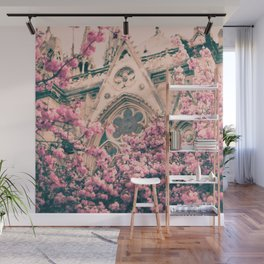 Paris, Notre dame details and cherry blossoms Wall Mural