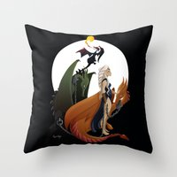 mother of dragons Throw Pillows featuring Mother of Dragons by LaPendeja