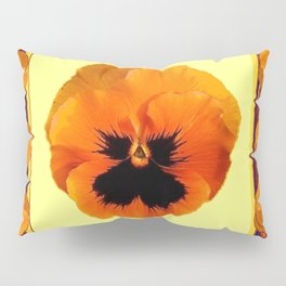 This design is all about the ORANGE PANSIES ON YELLOW COLOR DESIGN ART decor, furnishings, or for th Pillow Sham