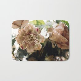 Peach Coral Green Abstract Impressionistic Flowers Wall Prints Home Decor Bath Mat