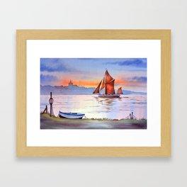 Thames Barge At Maldon England Framed Art Print