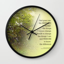 Serenity Prayer Tree Yellow Green Wall Clock