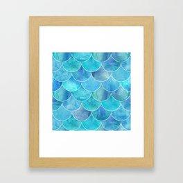 Turquoise Blue Watercolor Mermaid Framed Art Print