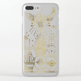 Santa Fe Garden – Gold Ink Clear iPhone Case