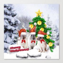 Schneehasen wünschen: frohe Weihnachten Canvas Print