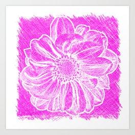 White Flower On Hot Pink Crayon Art Print