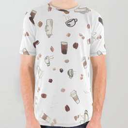 Coffee Sketches Collage All Over Graphic Tee