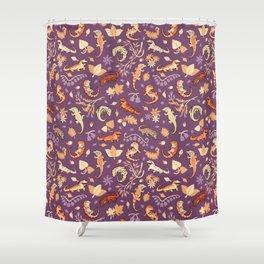 Autumn Geckos in purple Shower Curtain