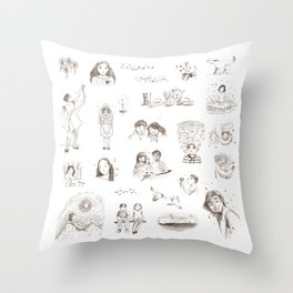 Tiny Seedlings Pencil Illustrations Throw Pillow