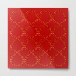 Ethno design blocks, red Metal Print