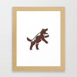 Wolf Standing Hind Legs Retro Framed Art Print