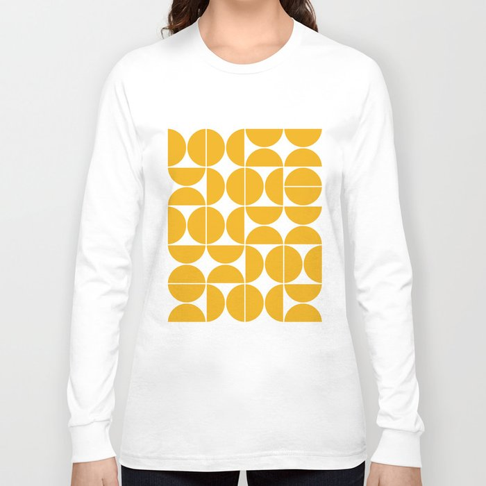 Mid Century Modern Geometric 04 Yellow Long Sleeve T-shirt