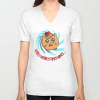 mew V-neck T-shirts featuring Doctor Mew by Helenasia