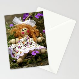 Clothes Peg Doll and Flowers Stationery Cards