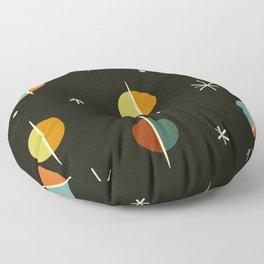 Mid Century Modern Abstract Spheres and Stars Dark Floor Pillow