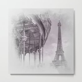 Typical Paris | grey/pink watercolor Metal Print