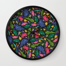 Neon Tropical Red Crabs, Shells and Jungle Leaves Wall Clock