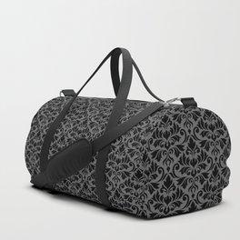 Flourish Damask Big Ptn Black on Gray Duffle Bag