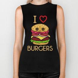 I Love Burgers Hamburger Fast Food Cheese Nuggets Design Biker Tank