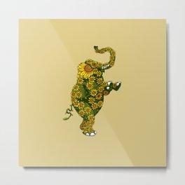 Elephant Sunflower Metal Print