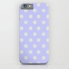 Blue Ultra Soft Lavender Thalertupfen White Pōlka Large Round Dots Pattern iPhone Case