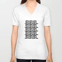 greek V-neck T-shirts featuring Greek Key by Charlene McCoy