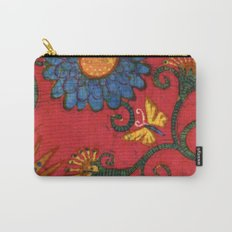 batik butterflies and flowers on red 2 Carry-All Pouch