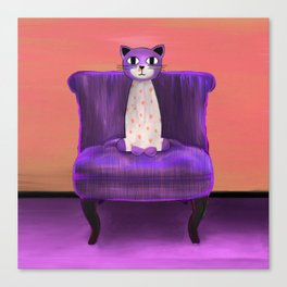 Elegant Cat violet Canvas Print