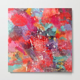 Fort Collins map Colorado painting 2 Metal Print