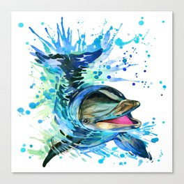 Watercolor Dolphin Canvas Print
