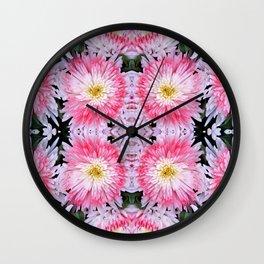 Rose Pink White Flower Blossoms Dahlias Wall Clock